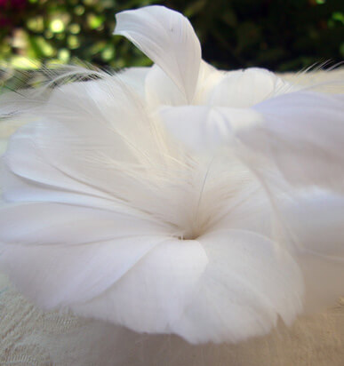 "Custom Made Millinery Flower 4.5"" White Feather Flower"