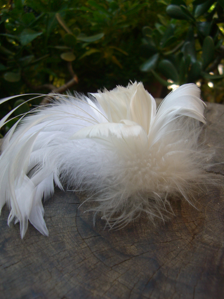 "Hand Made Millinery White Feather Flower 5.5"" wide"