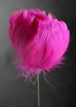 "Bright Pink Tulip Feather Flower 18"" wired stem"