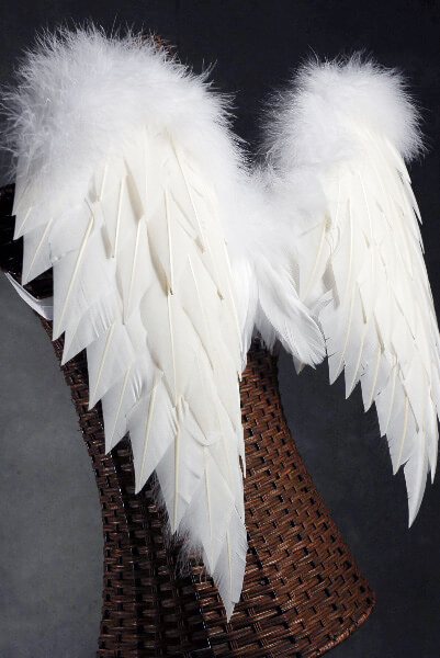 Handcrafted 27x20 White Angel Wings With Marabou Ostrich Trim
