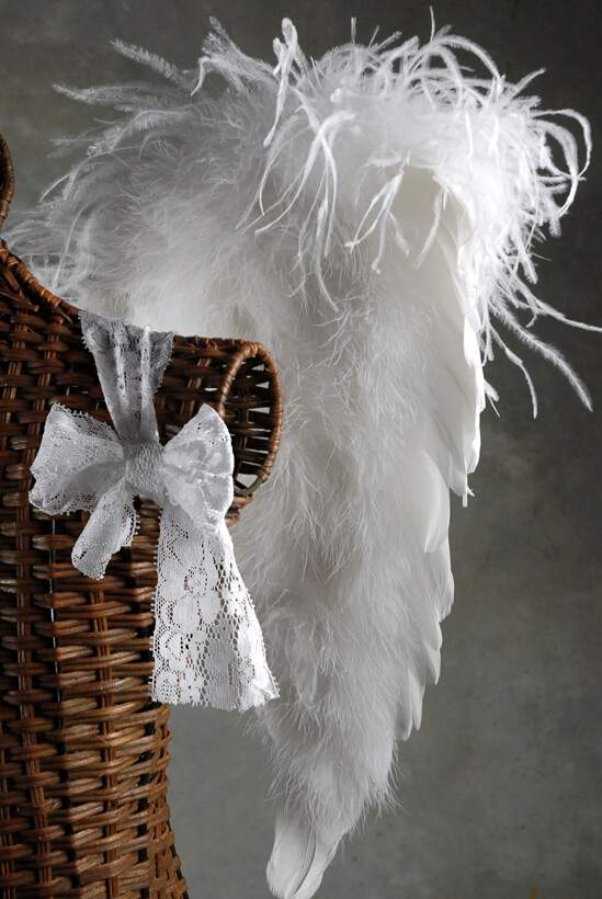 "Handcrafted Baby 20"" Angel Curly Ostrich Angel Wings"