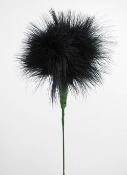 "Black Marabou Feather Flower 20"" Wired stem"