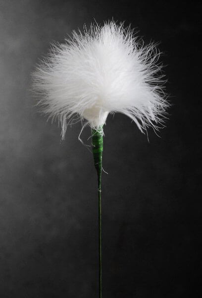 White Marabou Feather Flower 20 Quot Wired Stem