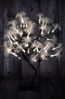 Fiber Optic Display Tree Dual Color Warm & Cool White LEDBattery Op 19 x 16