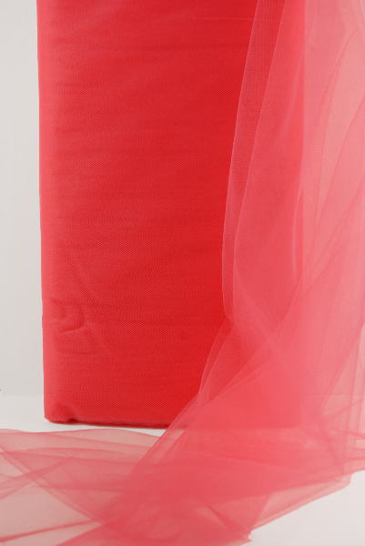 """54"""" Coral Red Fine Tulle Bolt  40 yards"""