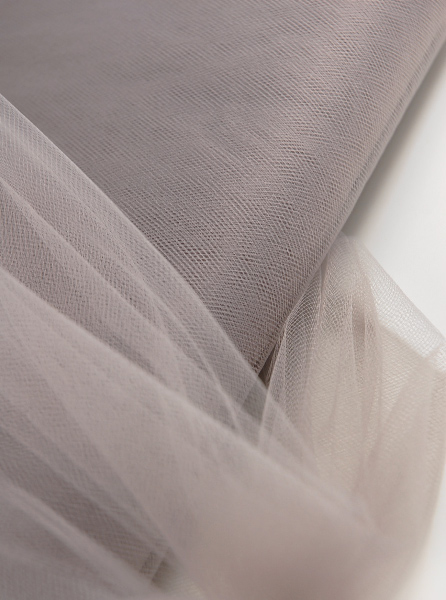 """Fine Tulle Bolt Silver Taupe 54"""" wide 40 yards"""