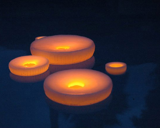 "Floating Reusable 3"" Hollow Wax Luminary White"
