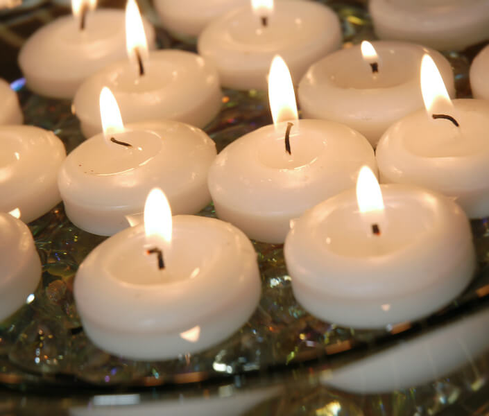 White Floating Candles 2 Inch 24 Candles