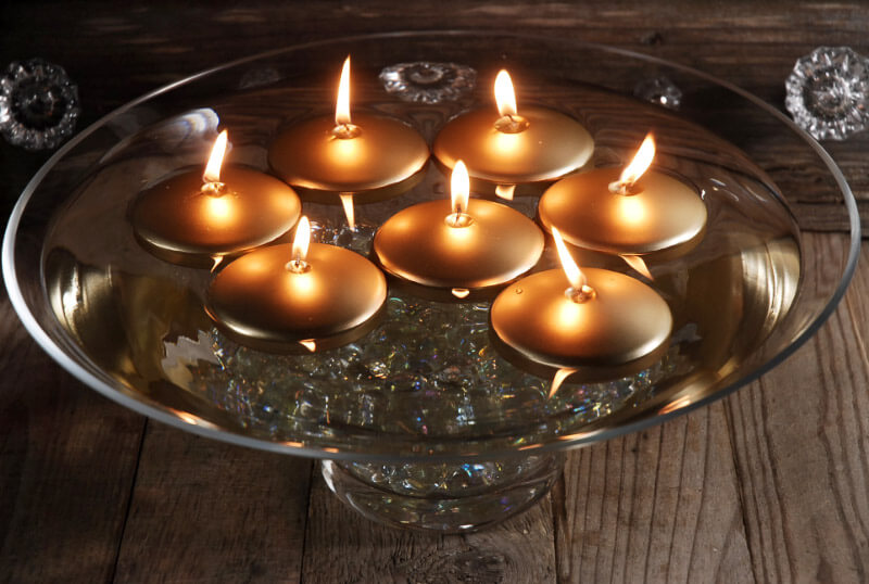 """12 Gold 3"""" Floating Candles"""