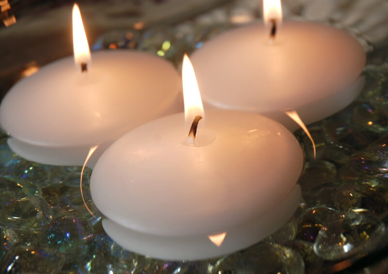 White Floating Candles 3 Inch 12 Candles