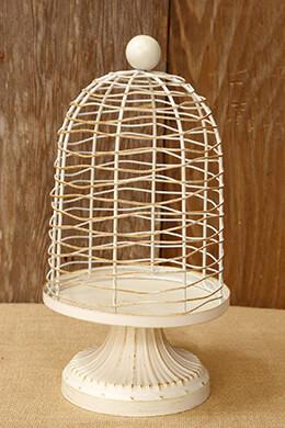 """Rustic Ivory Metal Birdcage Pedestal Display 12"""""""