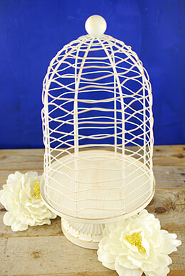Floral Birdcage Ivory 15.5in