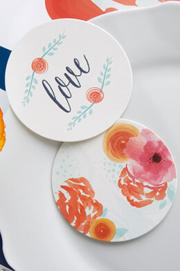 "20 Kate Aspen ""In Bloom"" Floral Paper Coasters, Wedding Favor (20CT)"