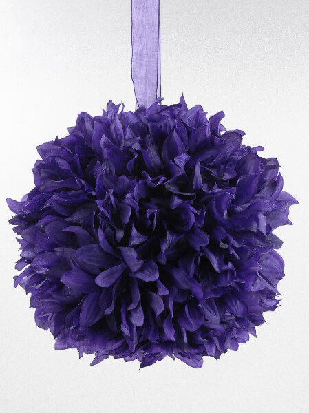 Purple 8 Quot Silk Flower Ball Ribbon Loop