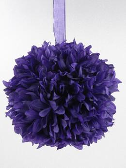 "Purple 8"" Silk Flower Ball, Ribbon Loop"