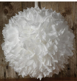 """Large White 12"""" Silk Flower Ball with Ribbon"""