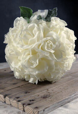 Rose White Silk Flower Ball, Ribbon Loop, 8 Inch