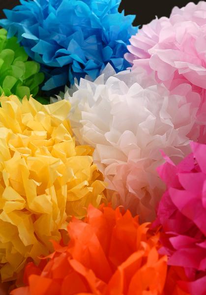 """4 Tissue Paper Pom Poms 20"""" Turquoise Blue"""