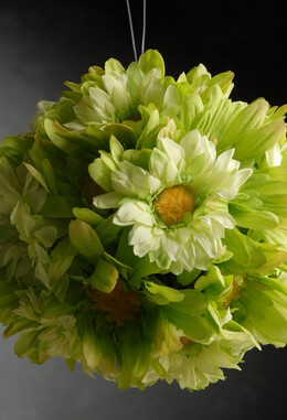 Gerbera Daisy Silk Flower Ball Green 7in
