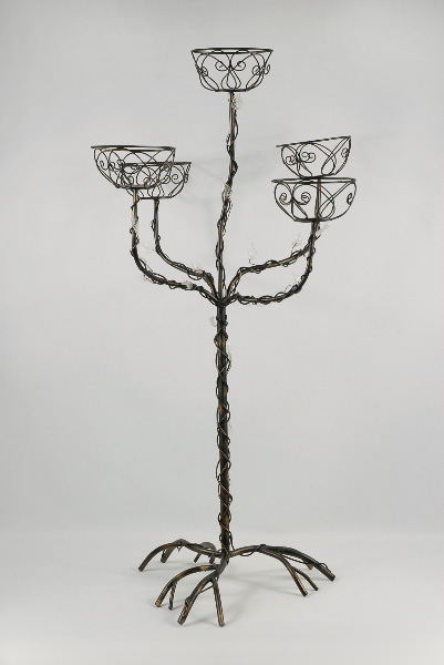 Wedding Event Tree 5-Tiered Black Pewter, Crystal Leaves 38in