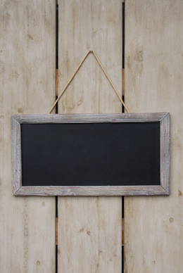 Framed Chalkboard with Rope Hanger  23.5 x 12.25in