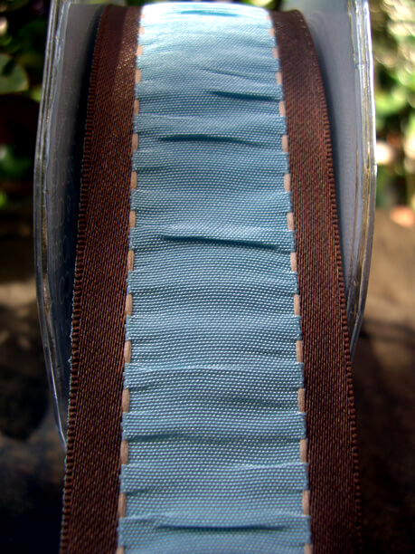 "French Blue & Brown Gathered Taffeta Wired Ribbon 1-1/2"" x 9 yards"