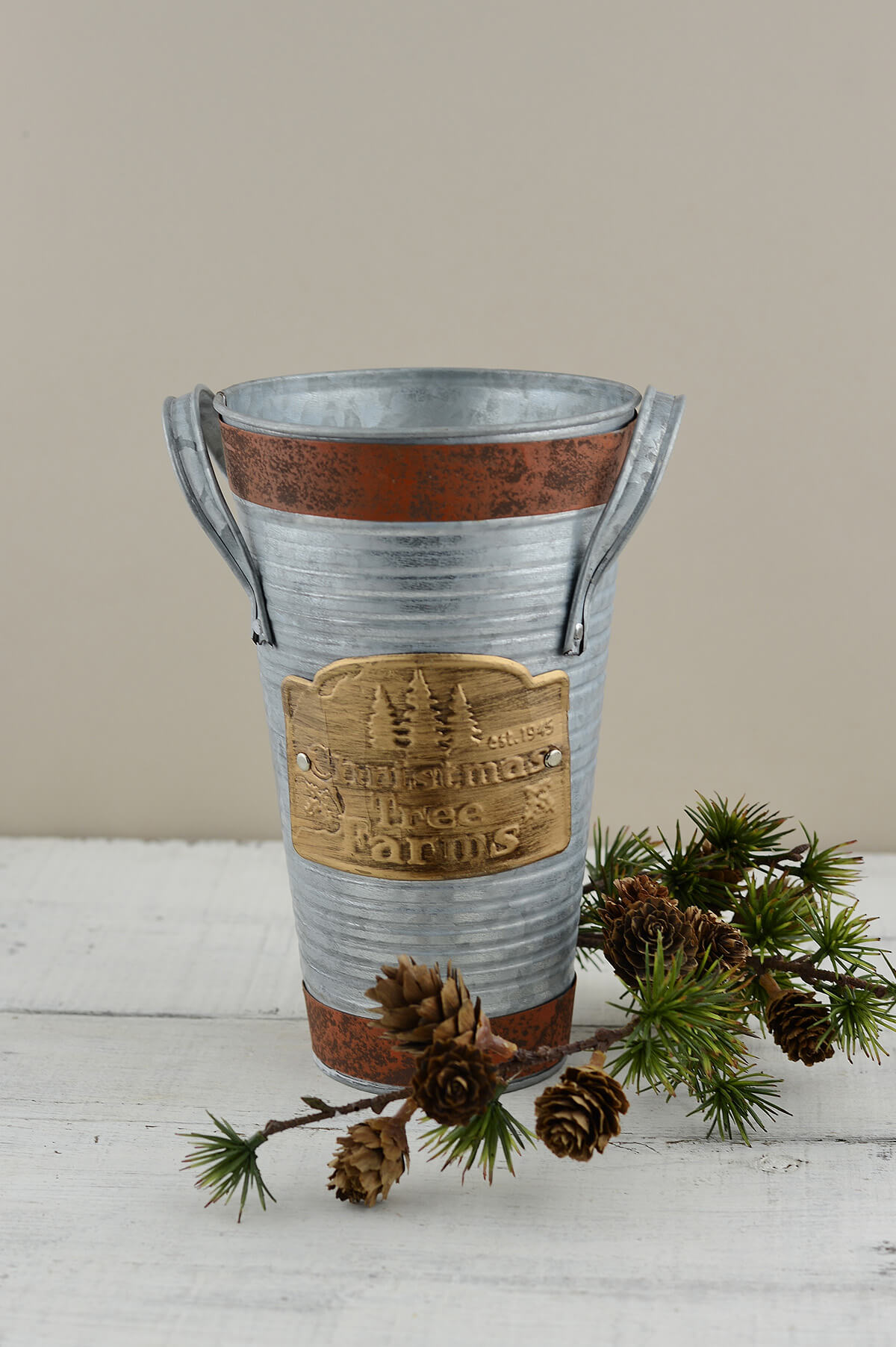 Small Christmas Tree Farm French Flower Bucket   8.5in