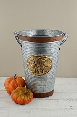 """Pumpkin Patch Farms French Flower Bucket Pumpkin 11"""""""