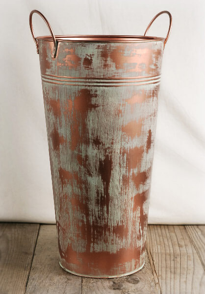 "15"" Copper Verdigris  Flower Market Bucket with Handles"