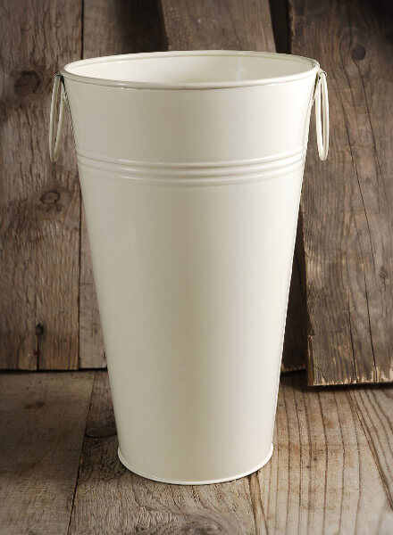 White French Flower Market 11 Quot Bucket Cream White