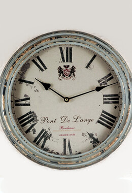 "Large 14"" French Vineyard Metal Vintage Wall Clock"