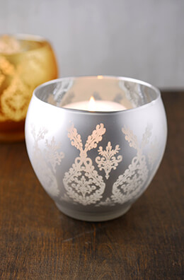Frosted Candle Holder Silver 4.5in