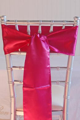 10 Fuchsia Pink Satin Chair Sashes 6x108