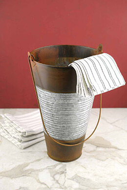 Galvanized & Rust 12in Ribbed Flower Bucket with Handle