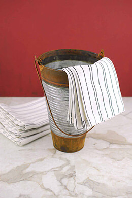 Galvanized & Rust 9in Ribbed Flower Bucket with Handle