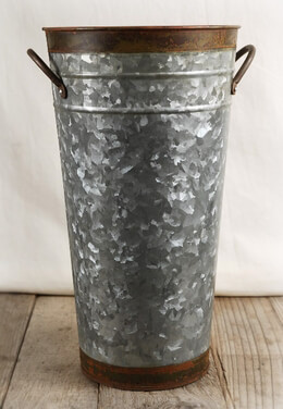 "Two Tone 13"" Galvanized French Flower Market Buckets with handles"