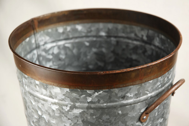 """Two Tone 13"""" Galvanized French Flower Market Buckets with handles"""