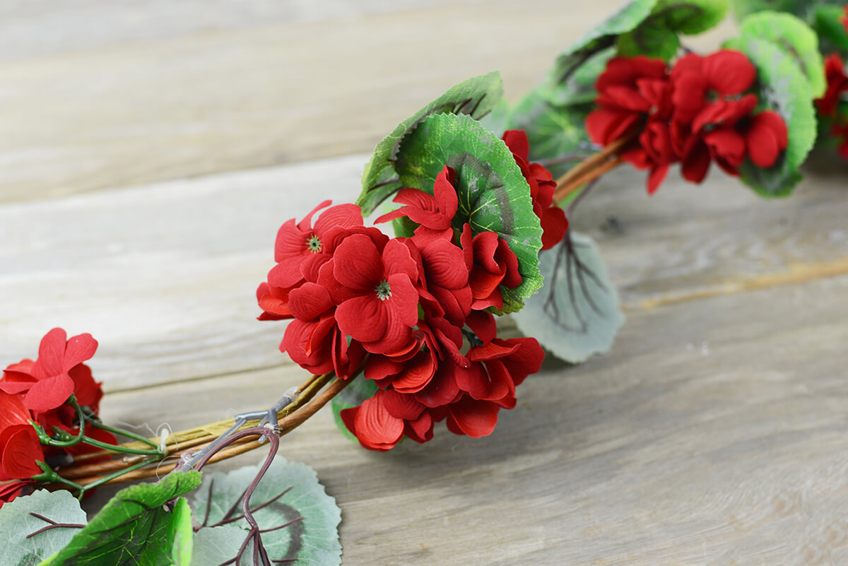 Artificial Red Geranium Garland  5 FT