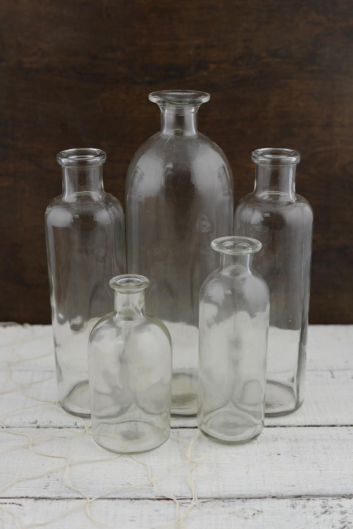 5 Glass Bottle Vases w/Tray 16in
