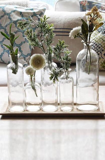 5 Glass Bottle Vases W Tray 16in