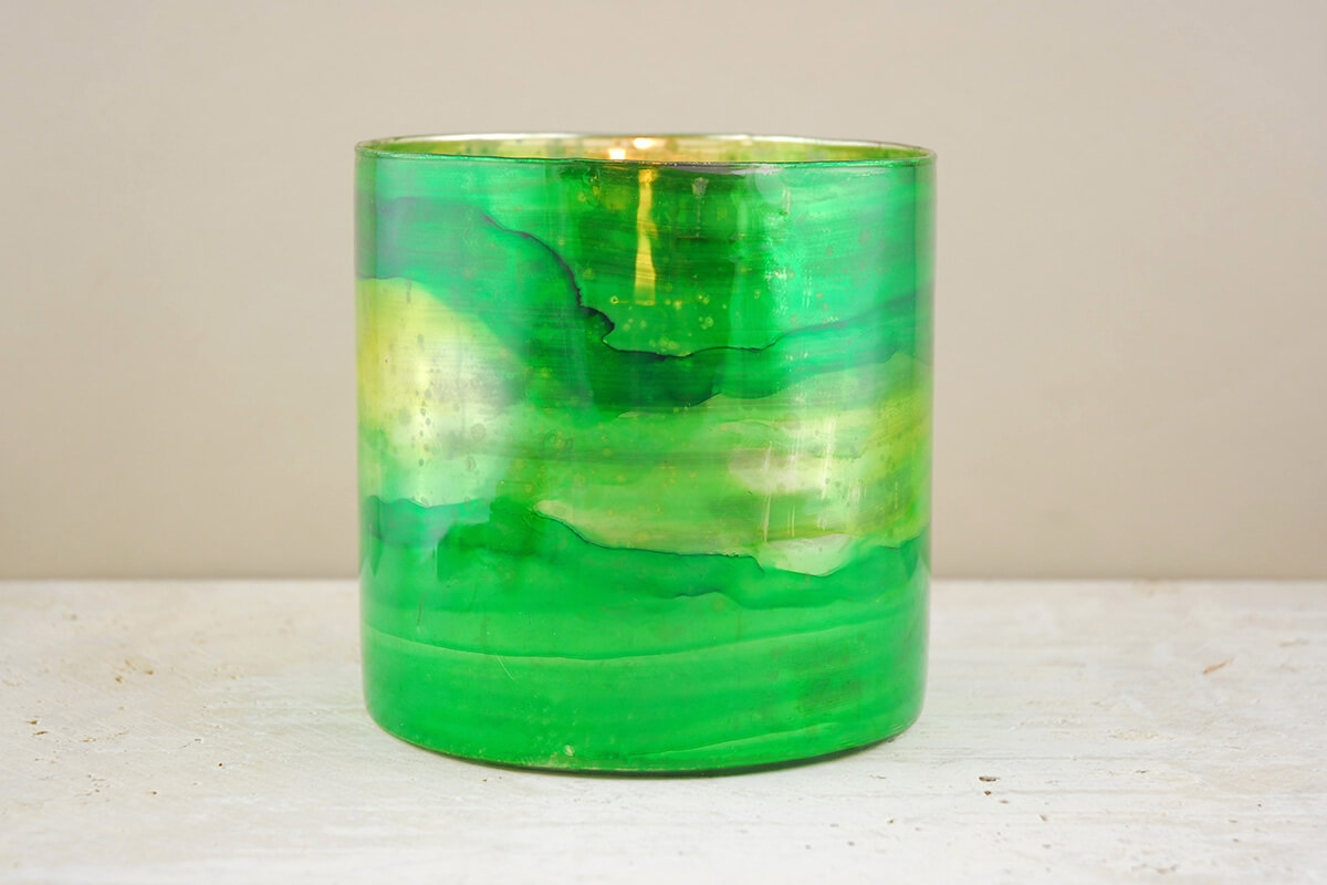 green glass candle holders elixir green vase amp candleholder 6 quot 3984