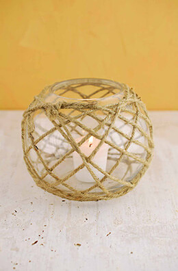 Glass Candle Holder with Rope 6.25in