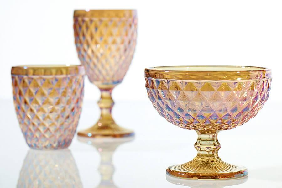 """Copper Luster Glass Dove Compote 5"""""""