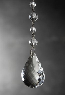 "Glass Crystal Hanger with 2"" Teardrop & Silver Hook, Chandelier Crystal"
