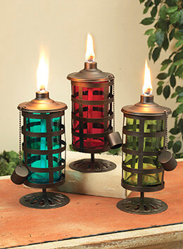 Set of 3 Glass Oil Lanterns 10in, Asst.