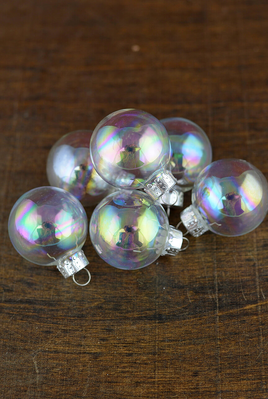 20 clear glass ornament balls iridescent 35mm for Glass christmas balls crafts