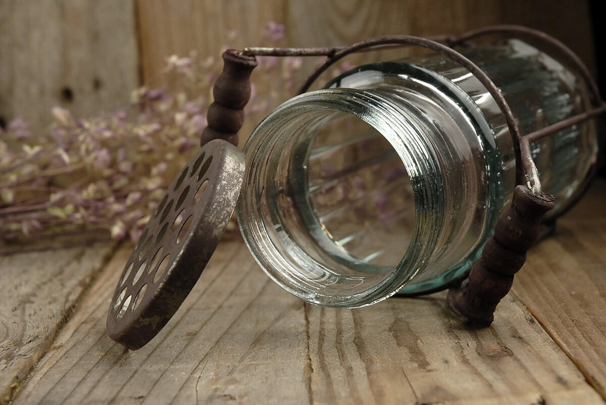 """Glass Vase with Flower Lid 7.5"""""""
