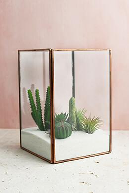 Glass Terrarium Display Case Copper Large