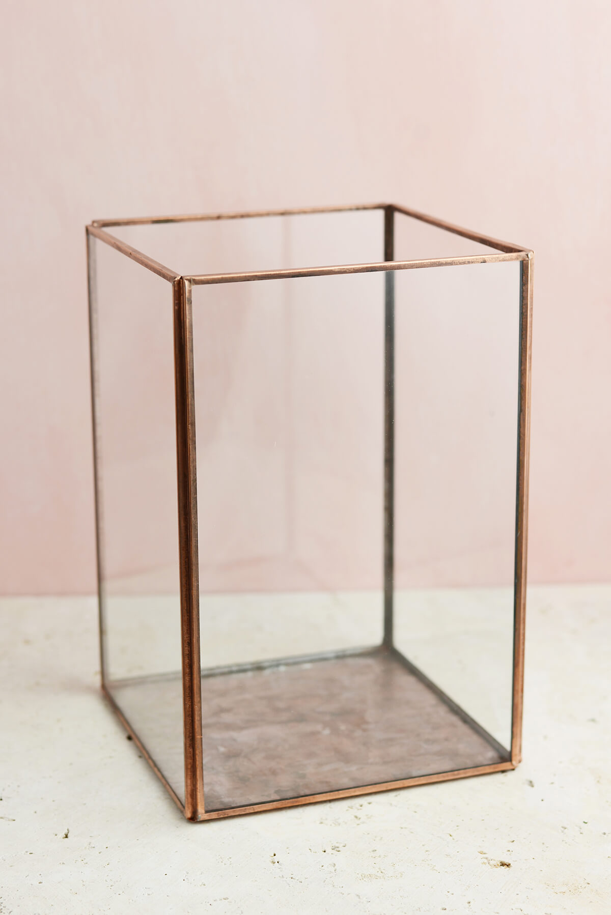 Glass Terrarium Display Case Copper Large