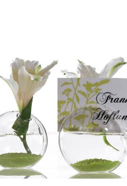 "8 Blossom Glass Name Card Holders 2.5"""